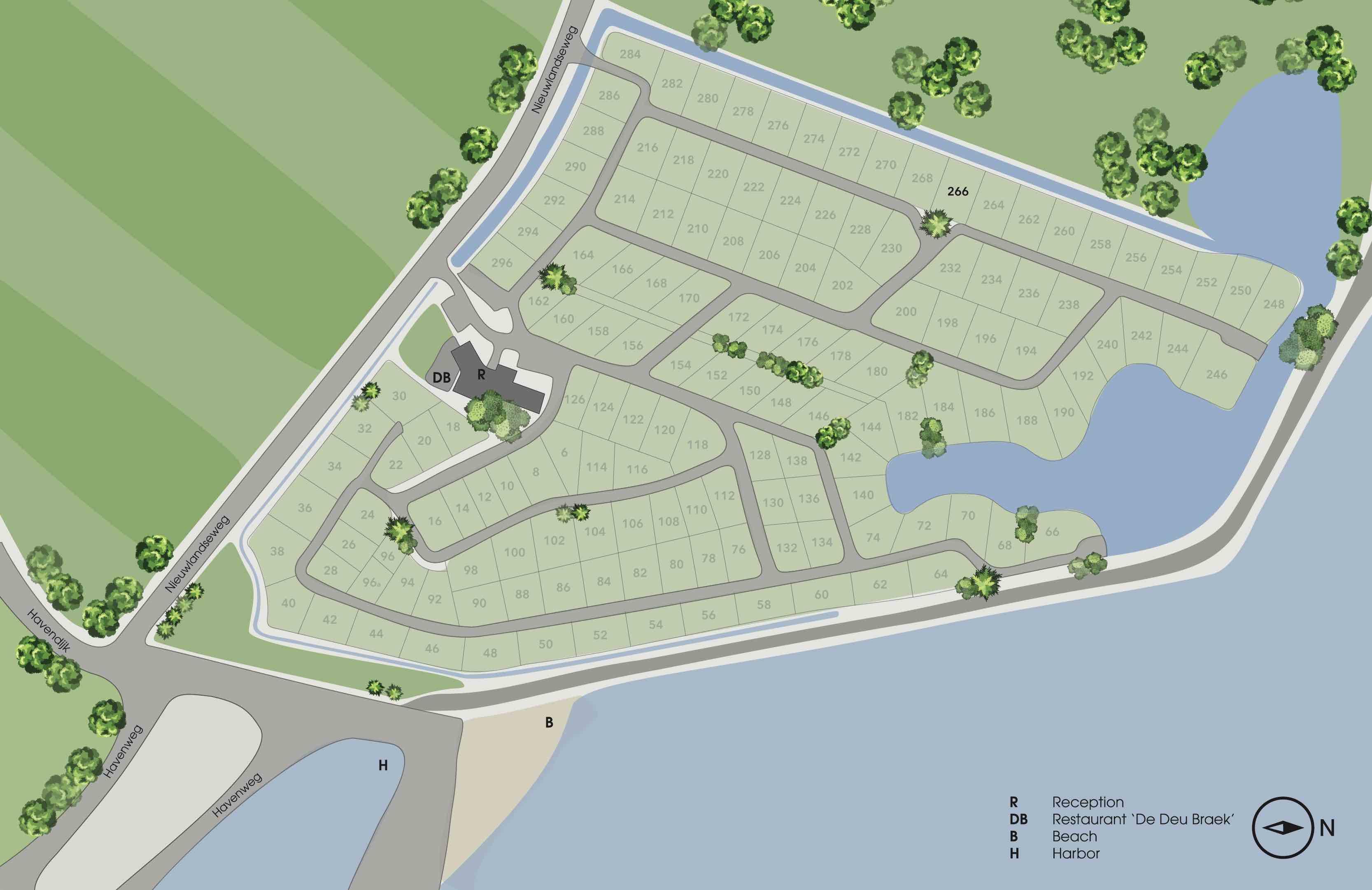 Vakantiehuisje Zeeland 6 personen - plattegrond park
